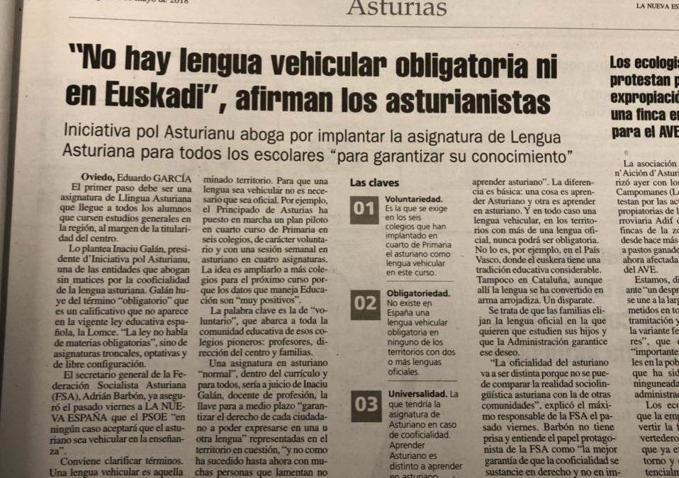 """Iniciativa pol Asturianu fala nel diariu La Nueva España sobre la """"obligatoriedá"""" del asturianu"""